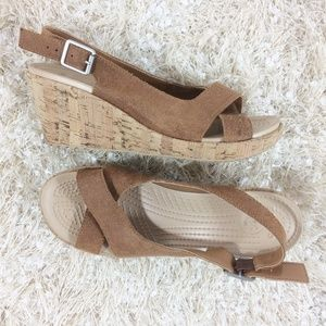 Crocs leather cross over slingback wedges W9